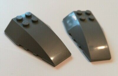 2x Dark N456 Space Blue Star wars Grey Lego 4 x 6 Sloped Base Bricks used