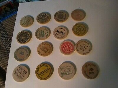 16 Different Vintage Wooden Nickels Advertising Lot #2