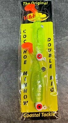 """3/"""" H/&H Cocahoe Minnows Double Rig ICMDR-35 Avocado//glitter Fire tail."""
