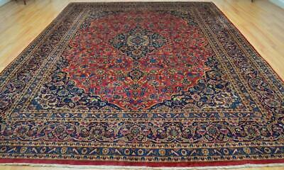 9'7 x 12'6 Earth Tones Plush Vintage Oriental Hand Knotted Wool Area Rug 10 x 13