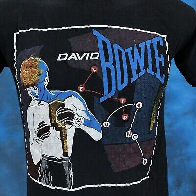 vintage 80s DAVID BOWIE LET'S DANCE CONCERT T-Shirt XS rock pop new wave tour