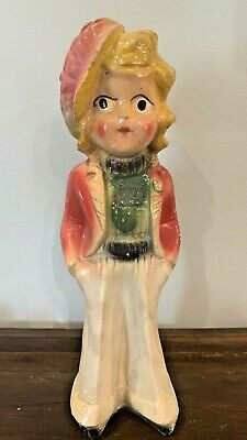 """Vintage Carnival Prize Chalkware Sweater Girl Figurine With Beret 14.25"""""""
