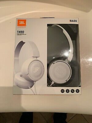 JBL T450 on-ear headphones WHITE Pure Bass sound. Brand New, Sealed In Box