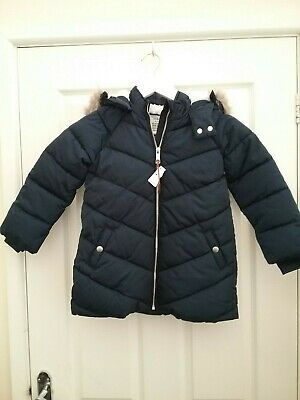 Marks and spencer Kids Girls Navy Blue Puffer Jacket Age 4/5 Years  BNWT