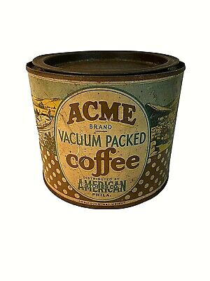 Vintage Acme Brand Coffee Tin Can Advertising Collectible Graphics