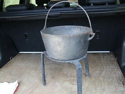 Gypsy Travelers cast Iron open fire cooking pot with markings and stand