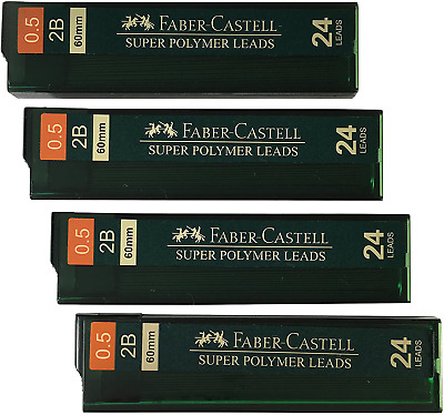 Faber-Castell 0.5 Mm 2B Lead Refills Strong Dark Smooth Leads Mechanical Pencil