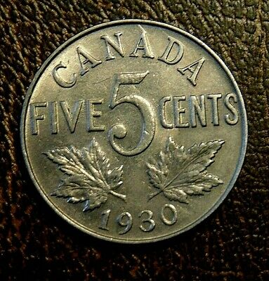 CANADA 1930 FIVE 5 cent nickel CANADIAN coin King George V AU ?