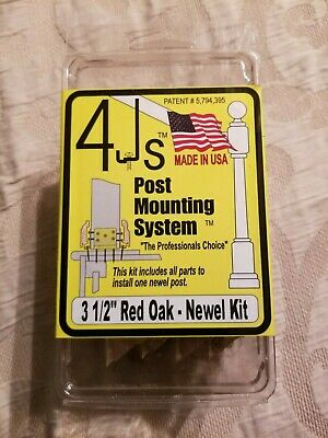 """4Js Newel Post Fastener Mounting System 31/2"""" Red Oak Contemporary Molding"""