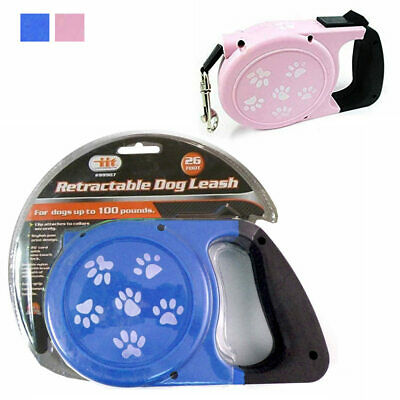 26Ft Auto Retractable Dog Leash Stop Lock Small Medium Big Pet Up To 100lb Train