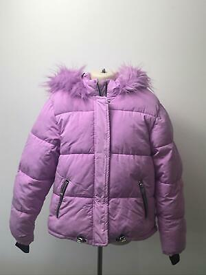Girls Next Lilac Padded Quilted Hooded Fur Trim Warm Coat Jacket Kids 9 Years