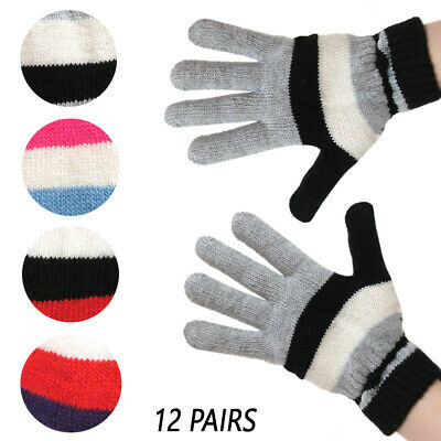 2 Pair Pack NIce Caps Kids Magic Stretch Warm Plush Lined Knit Touchscreen Gloves