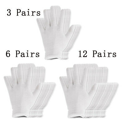 US 12 Pairs 18.5cm White Thin and Reusable Elastic Soft Cotton Gloves Unisex