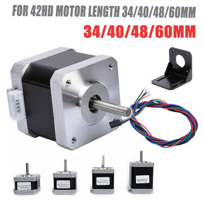 34/40/48/60mm Nema 17 1.8° 2 Phase 4 Wire 42 Stepper Motor For 3D Printer CNC