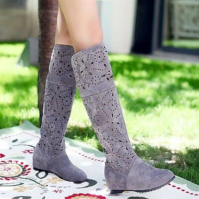 Wedge sandals shoes Women's summer knee high boots girls school shoes US5-US10