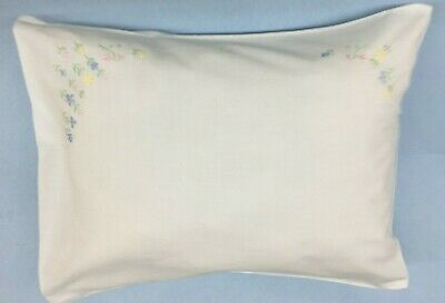 "Cotton hand Embroidered Floral Pillow Case 12""x 16""  Ships Free! Flat or Stuffed"