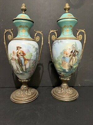 "Large Sevres Style Pair Of Hand Painted Vases 17"" Make Offer!"