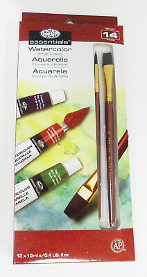 "Royal & Langnickel ""essentials"" WATERCOLOR Paint Set 14 Tubes and 2 Brushes"