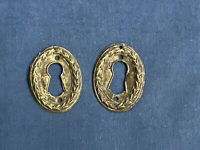2 Vintage Antique Brass Key Hole Escutcheons Furniture Covers