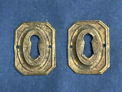 2 Vintage Brass Key Hole Escutcheon Furniture Covers