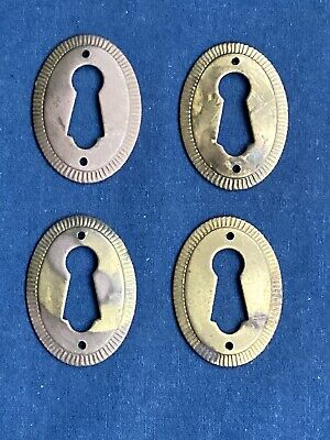 4 Vintage Brass Key Hole Escutcheon Furniture Covers
