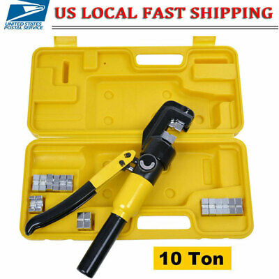 Hydraulic Wire Terminal Crimper Battery Cable Lug Crimping Tool w/7 Dies -10 Ton