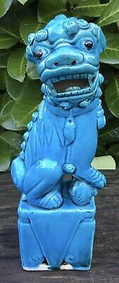 """Old Early - Mid 20th Century Chinese Ceramic Turquoise Foo Dog Lion Figure 9.75"""""""