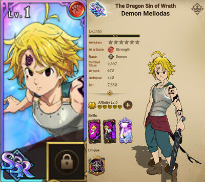 Seven Deadly Sins Grand Cross Account, 7DS, Red Demon MELIODAS + 1 SSR 🌟STARTER