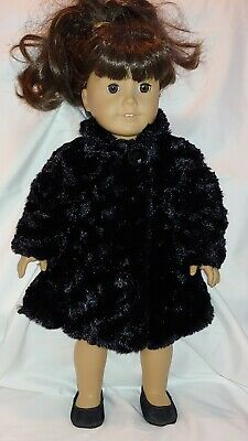 Black Soft Faux Fur Doll Coat Satin Lined Fits American Girl/Same Size Dolls