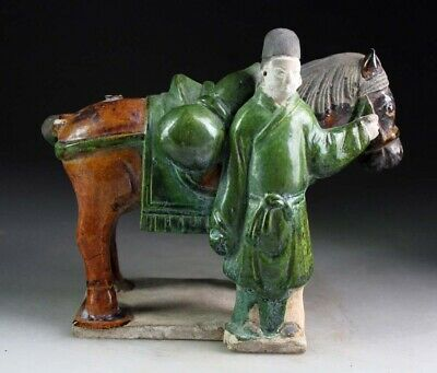 *Sc*A Fully Glazed Chinese Ming Dynasty Tomb Pottery Horse With Groom!
