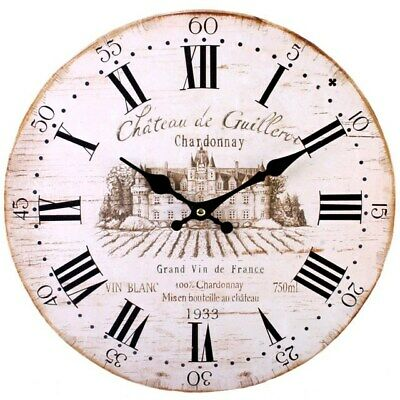 Large Shabby Chic Wall Clock Chateau Wooden Effect Analogue 34cm Home Decor