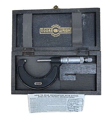 "Vintage MOORE & WRIGHT MICROMETER No 966, 1""-2"", with Box, VGC"