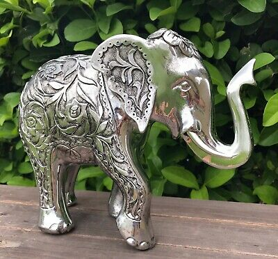 Elephant Statue TRUNK UP Figurine Feng Shui Good Luck Silver Home Decor New Year