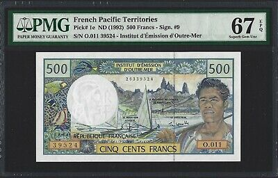 FRENCH PACIFIC TERRITORIES 500 Francs 1992 (ND 2004) P-1e, PMG 67 EPQ S. GEM UNC