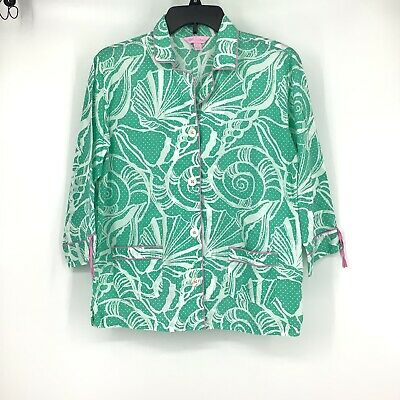 Lilly Pulitzer Pajama Sleep Top Shirt Green Pink Button Front Small Cotton AD15