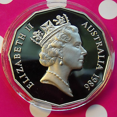 STRONG ROYAL PROOF 1986 AUSTRALIA 50c. POPPING CAMEOS Both SIDES. w HOLDER