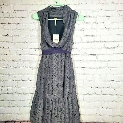 Free People Anthropologie Gray Purple Cowl Neck Sleeveless Dress Crochet 4 NWT