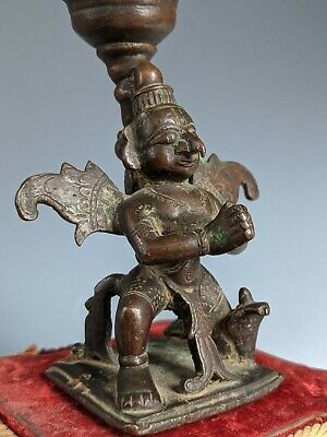 Antique Indian Bronze Garuda Candlestick Lost Wax 18th 19th C Hindu Asian India