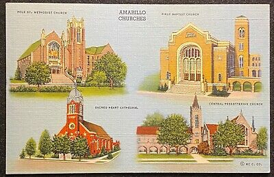 Vintage  **Amarillo Churches**  Amarillo, Texas {{Unused}} 4 Churches Postcard!