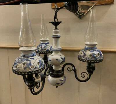 Vintage Dutch Delft Paraffin Look, 3 Branch Chandelier