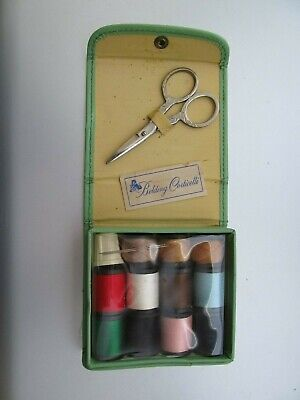 Vintage Belding Corticelli  Petite Sewing Kit Green Snap Front With Box