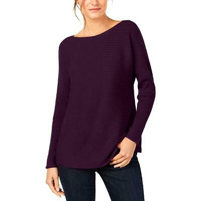 Eileen Fisher Womens Tencel Blend Striped Ribbed Knit Sweater Top BHFO 3086