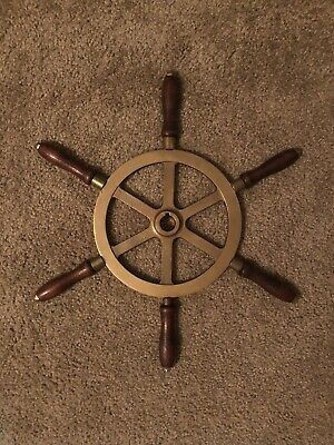 "Vintage Solid Brass / Bronze 18.25"" Ship / Yacht Steering Wheel 6 Handle Grips"