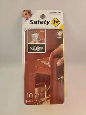 Safety 1St Spring Loaded Cabinet & Drawer Latches, 10 Pack- NEW