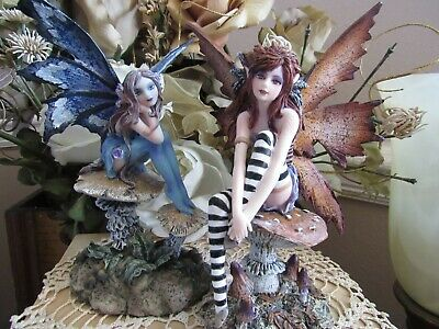 2 piece Amy Brown NAUGHTY & NICE fairy figurine set by Pacific Giftware NEW