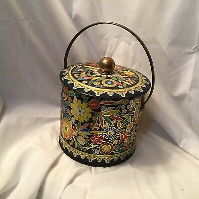 Vintage Metal Tin Canister England Floral Dahr Biscuit Can With Lid
