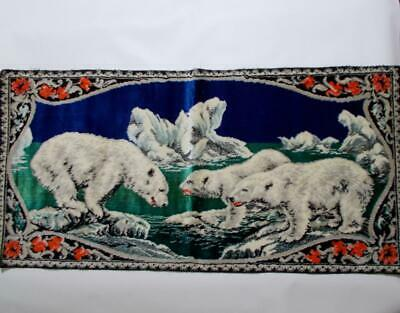 Polar Bear Tapestry Rug Wall Hanging Vintage Made In Italy