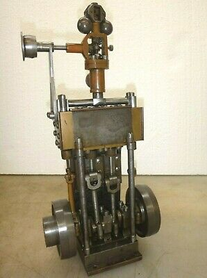 VERTICAL 2 CYLINDER STEAM ENGINE MODEL Old Neat and Rare! Twin Cylinder Motor