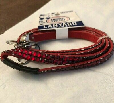 RED DIAMANTE RHINESTONES LANYARD EYEGLASSES ID BADGE CARD HOLDER KEY FOB 47cm