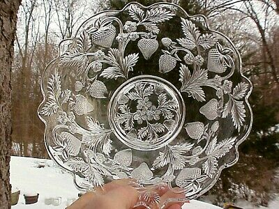 "1908-1915 Cambridge Glass EAPG Near Cut INVERTED STRAWBERRY 9"" Flared Deep Bowl"